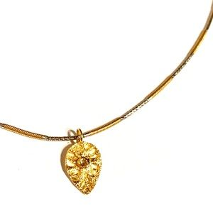 Jewelry - 18K Two-Tone Chain Diamond Leaf Pendant Necklace